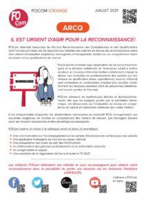 Tract FOCom-Orange pour la reconnaissance des salariés