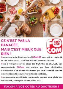 Tickets restaurantt à Clermont-Ferrand pour les salariés Orange