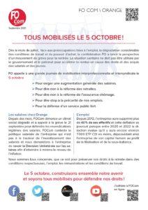 Orange - Mobilisation le 5 octobre